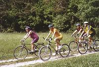 Radfahrer am Waldrand