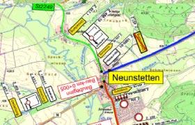 Sperrung der Ortsdurchfahrt Neunstetten, Staatsstraße St2249