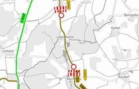 Sperrung der Kreisstraße AN 54 zwischen Lammelbach und Reichenau