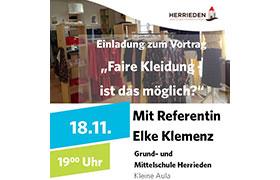 """Einladung zum Vortrag """"Faire Textilien – Ist das möglich?"""" am 18.11.2019"""