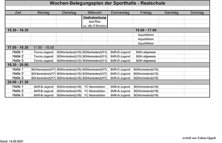 Belegungsplan der Turnhalle der Realschule Herrieden
