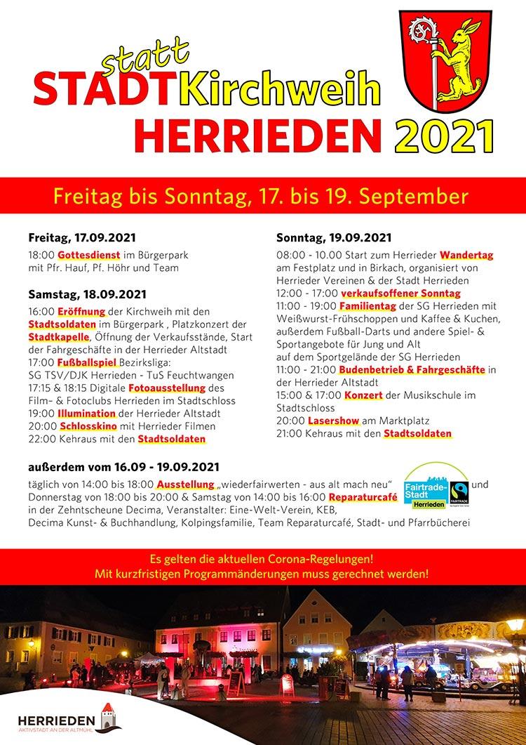 Plakat mit Programm zur Stadtkirchweih Herrieden