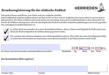 Freibad-Registrierungsformular